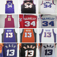 Wholesale Shirts Basketball - Throwback 34 Charles Barkley Basketball Jerseys Black Yellow Purple White Retro 13 Steve Nash Jersey College 11 Nash Red Shirt