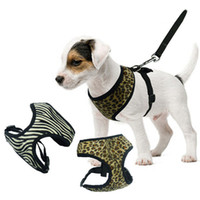 Wholesale Leopard Dog Collars - Wholesale Canvas Dog Harness Leash Leopard Patterns Air Permeable Soft 5 Sizes With Pets Collar Leash Harness Set Supplies 2 Colors
