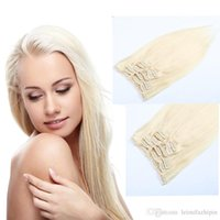 Wholesale Long 28 Inch Hair Extensions - Resika Grade 8A Unprocessed 10pcs 22clips Best Bralizian Indian Long Clip In On Hair Extensions Natural Color Blonde Direct Factory Price