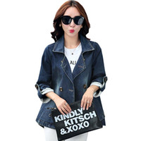 Wholesale Korean Jeans Skirts - Wholesale- High Quality Denim Jacket Coat 2016 Newest Korean Fashion Spring Jacket Women Plus Size Long Sleeve Jeans Basic Jacket Coat