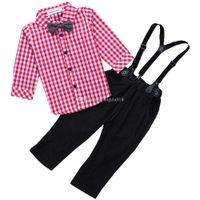 Wholesale Boys Cowboy Shirt - 2017 new children outfits straps jeans+Plaid shirt 2pcs set Spring Autumn baby boys cowboy suit kids Clothing C1796