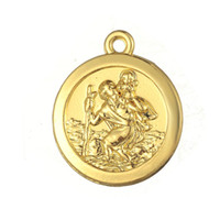 Charms st christopher charm - ST Christopher Protect Us Religious Antique Silver Gold Plated Round Charm DIY Necklace Bracelet Jewelry Making