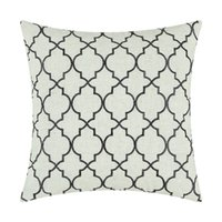 "Wholesale Embroidered Pillow Cover Cushion - CaliTime Cushion Cover Pillows Shell Home Decor Poly Linen Blend Modern Trellis Chain Accent Stone Black 17""X17""(43cmX43cm)"