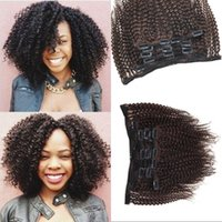 Brazilian Afro Kinky Virgin Cabelo Humano 120G Clip In Extensions Full Head Medium Brown 7Pcs / lot Curly Clip ins FDSHINE