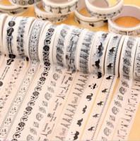 einseitige büroklebebänder großhandel-2016 Schulbüro Zubehör schwarz weiß einseitige dekorative Klebebänder koreanische Briefpapier DIY Album Foto Aufkleber zufällige Farbe