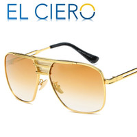 Wholesale Unisex Shades - EL CIERO High Quality Metal Brushed Sunglasses For Men & Women 2017 Brand Classic Square Sun Glasses Unisex Fashion Shades UV400 Protection