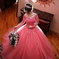 Wholesale Watermelon Prom Dress Color - Modest Watermelon Long Sleeves Quinceanera Dresses Off Shoulder Lace Tulle Ball Gown Prom Dresses Elegant Sweet 16 Dresses
