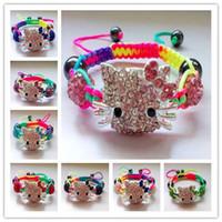 hello kitty charm bracelet toptan satış-High End Yaz Satış Moda Takı Renkli Çizgi Kristal Rhinestones Boncuk El Yapımı Charm Shamballa Hello Kitty Bilezik Bilezik Çocuk