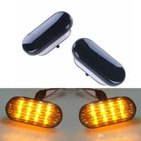 Wholesale Vw Passat Lamp - 2x Amber Beetle LED Side Marker Light Turn Signal Lamp Smoked Lens For VW Jetta Golf Mk4 Passat B5 1999-2004 #P76