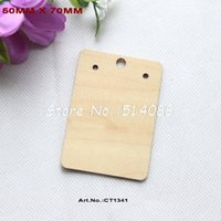 Wholesale Wooden Earring Blanks - Wholesale- (40pcs lot) 70mm Natural Wooden Earrings Label Blank Rustic Favor Jewelry Display-CT1341
