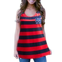 Wholesale Tops Blouses Stripes - Sexy Women Fashion Summer Vest Top O-neck Sleeveless Blouse Casual stripe stars print Tank Tops Fashion Lady Vest T-Shirt