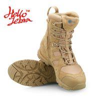 Wholesale Tactical Boot Desert Sand - Hellozebra Fashion Martin Boots Men Outdoor Hike Ride Desert Combat Tactical Boots Mid-Calf Patshwork Beathable 2016 Summer New Sand Black