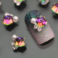 Wholesale Diy Rhinstone - 10pc Crystal Rhinstone Pearl 3d Nail Charms For Nail Art Decorations DIY Glitter Alloy Nails Tools Free Shipping