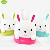 Vente en gros - 1pcs Lovely Bunny Roll Paper Holder Rabbit Box de rangement Home Office Desktop Plastic Tissue Container Hanging Paper Organizer