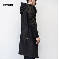 erkek için siyah uzun ceket toptan satış-Toptan-Erkekler Bahar Sonbahar Gevşek Kapşonlu Trençkot Erkek Moda Rahat Bir Düğme Uzun Siyah Rüzgarlık Ceket Erkek Siper Dış Giyim