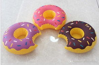 Wholesale Inflatable donuts tubes coke Phone Cup Holder swim pool floating toys cm Drink Botlle Holder