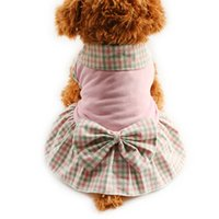 Wholesale Clothes For Dogs Girl Small - armipet Plaid lapel Dog Dresses Princess Dress For Dogs Skirt 6071004 Pet Puppy Girl Clothing SuppliesXS, S, M, L, XL