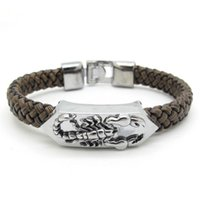 Wholesale Gold Id Bracelets For Men - Wholesale- Rock Punk Band ID Scorpion Bracelet Brown Leather Bangle For Men Solid Silver Stainless Steel Cool Jewelry, Free Shipping