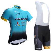Wholesale Cycling Jersey Bib Shorts Astana - 2017 ASTANA Pro TEAM BLUE BLACK Short Sleeve Cycling Jersey Bike Bicycle Wear +BIB Shorts Size XS-4XL