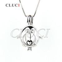 Wholesale Penguin Christmas - Hot Sale 3pcs Sterling Silver 925 Lovely Penguin Locket Pendant 19*13*9mm