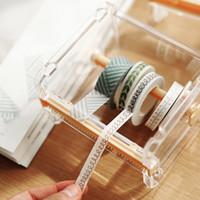 Wholesale Transparent Tape Wholesale - Wholesale- 2016 Transparent Washi Tape Holder Stationary Storage Box Washi Tape Cutter New Tools for Washi Tape Scrapbooking Tools