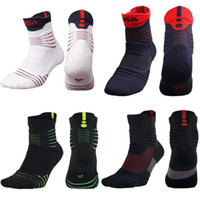 Wholesale Elite Football Socks - Newest USA Professional Basketball Elite Socks Anti Slip Anti-chafe Soccer Football Running Sports Socks Compression Thermal Terry Stockings