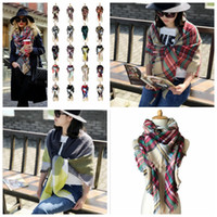 Wholesale Women Plaid Scarves Grid Tassel Wrap Oversized Check Shawl Tartan Cashmere Scarf Winter Neckerchief Lattice Blankets Fashion AccessorieYYA89