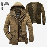 Wholesale Thick Warm Coats Men - AFS JEEP Winter Jacket Men Windproof 2017 Single Breasted Solid Hood Warm Coat Thick Cotton-Padded Famous Brand Thicken Parkas