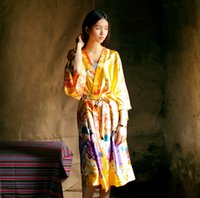 Wholesale Satin Dress Chinese - 2017 Women Satin Ethnic Kimono Robe Bridesmaid Floral Print Bathrobe Nightgown Chinese Style Sleepwear Dressing Gown