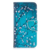 iphone couro branco venda por atacado-Para iphone x capa pintada pu leather cases flip wallet cartão stents holster pena colorido branco flor designer de telefone capas