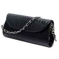 Wholesale Envelope Clutch For Evening - Wholesale- TOYL Fashion Designer Crocodile Pattern Ladies' Shoulder Chain Bag Wallet PU Leather Clutch Evening Bag Purse for Women Handbag