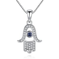 Wholesale Hamsa Necklace Evil Eye - BELAWANG 925 Sterling Silver Clear CZ Necklace Luck Hamsa Hand Pendants Necklace with Blue Evil Eyes for Women Wholesale Free Shipping