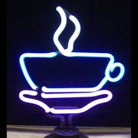 Wholesale Commercial Coffee - New Coffee Cup Handicrafted Real Glass Tube Neon Table Light Beer Lager Bar Pub Table Sign Neon Light Sculpture Table Lamp