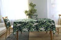 Wholesale New Fashion Tropical style table cloth with monstera printed cotton water proof surface table cloth for home decor