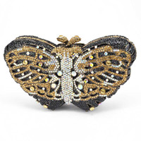 Wholesale Butterfly Clutch Purses - Wholesale- Stylish Butterfly Rhinestone Clutch Bag Luxury Crystal Evening bag for Prom Ladies Wedding Bridal Party Purse for Feast 88169