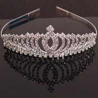 Wholesale White Rose Hair Comb - 2016 Child Crown Princess cute rhinestone tiara headband girls hair accessories baby girl Korean jewelry Combs