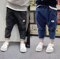 Wholesale Harem Children Jeans - 2017 Autumn Boys Jeans Kids Cartoon Bear PP Pants Denim Harem Pants Children Boy Jeans Trousers Blue Black 13223