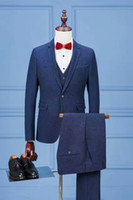 Photos meilleur costume France-2017 Real picture EN stock New Groom Tuxedos meilleur homme Robes de soirée Costume de mariage pour homme Best Man Tuxedos Slim Fit Blue (Veste + pantalon + veste)
