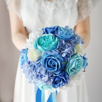 Macaron Blue White Rose Bouquets de mariage artificiels 2017 Nouvelle mode Hydrangea Country Beach Bridesmaids Bridal Holding Broches Bouquets