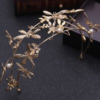 Wholesale Hair Accessories Dragonfly - HOT Korean sweet temperament bride gold dragonfly dragon crown head decorated hoop hair ornaments wedding dress accessories