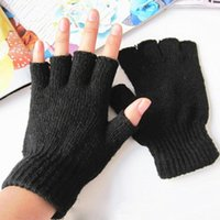Barato Luvas Pretas Fingerless Malha-Venda por atacado - 1Pair Stretch Knitted Gloves Men Women Fingerless Winter Warmer Mittens Black W1