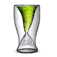 Wholesale Mermaid creative glass liquor cup double bar wine beer cocktail glass gifts green lead free fish tail ml
