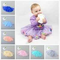 Wholesale Childrens Embroidered Clothing - Baby Girls Lace tutu Skirts Kids Girls Pom pom Princess Dress Babies Summer Colorful Balls Skirts 2017 Childrens clothing