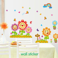 Wholesale Sunflower Stickers Free Shipping - Free shipping The new three generations living room bedroom decorative fence skirting smile sunflower stickers wholesale