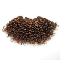 bal kahverengi saç örgüsü toptan satış-Bal Sarışın Kinku Kıvırcık 8 inç Bob Siyah Kadınlar Için çift Çizilmiş Açık Kahverengi Örgü Kıvırcık Örgü Dikmek