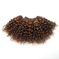 tejido de pelo marrón miel al por mayor-Doble trama Marrón Claro a Miel Rubio Kinku Rizado 8 pulgadas Bob Armadura de cabello humano para mujeres negras Cosa en rizado