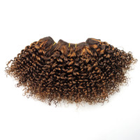 Wholesale human hair weave honey brown online - Double Drawn Light Brown to Honey Blond Kinku Curly inch Bob Human Hair Weave For Black Women Sew in Curly Weave