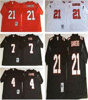 Wholesale Atlanta Homes - Throwback Atlanta 4 Brett Favre 7 Michael Vick 21 Deion Sanders White Black Home Away Stitched Jerseys