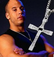 Wholesale Furious Gold - 2017 New Arrival The Fast and Furious Movie Dominic Toretto Classic Cross Male Rhinestone CROSS Pendant Necklace Pendant
