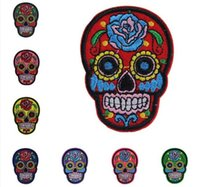 Wholesale skull patch Iron On Patches Clothes DIY Flowered Skull Embroidered Patches For Clothing Fabric Badges Sewing Patches M032